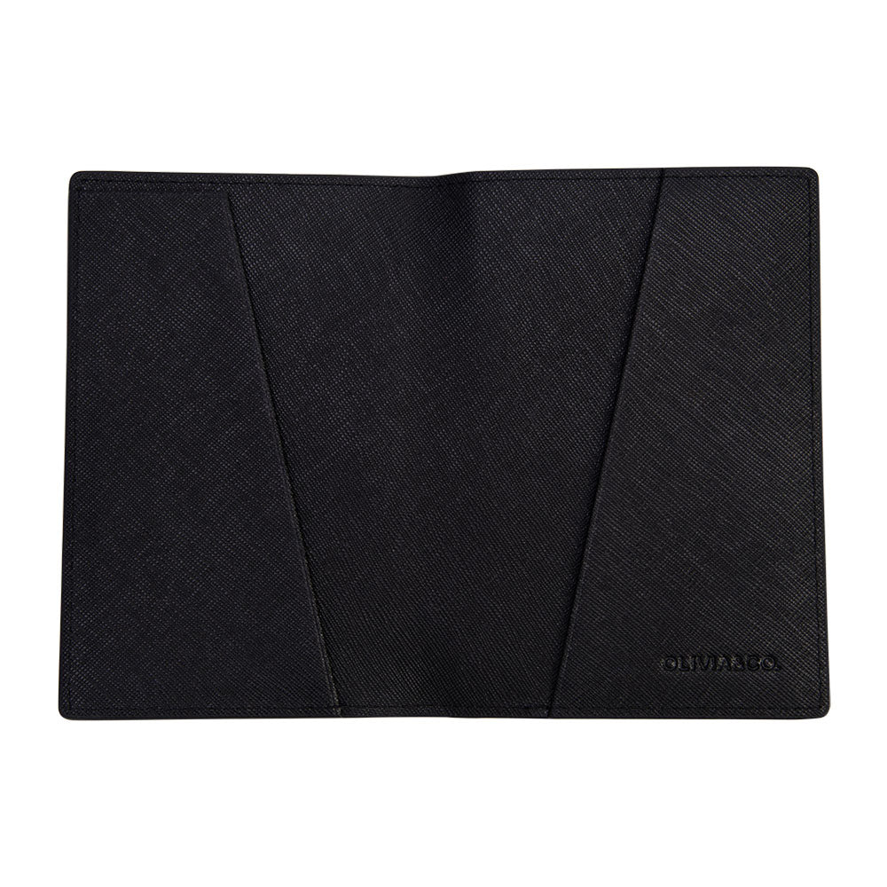 Passport Holder in Black Saffiano Leather