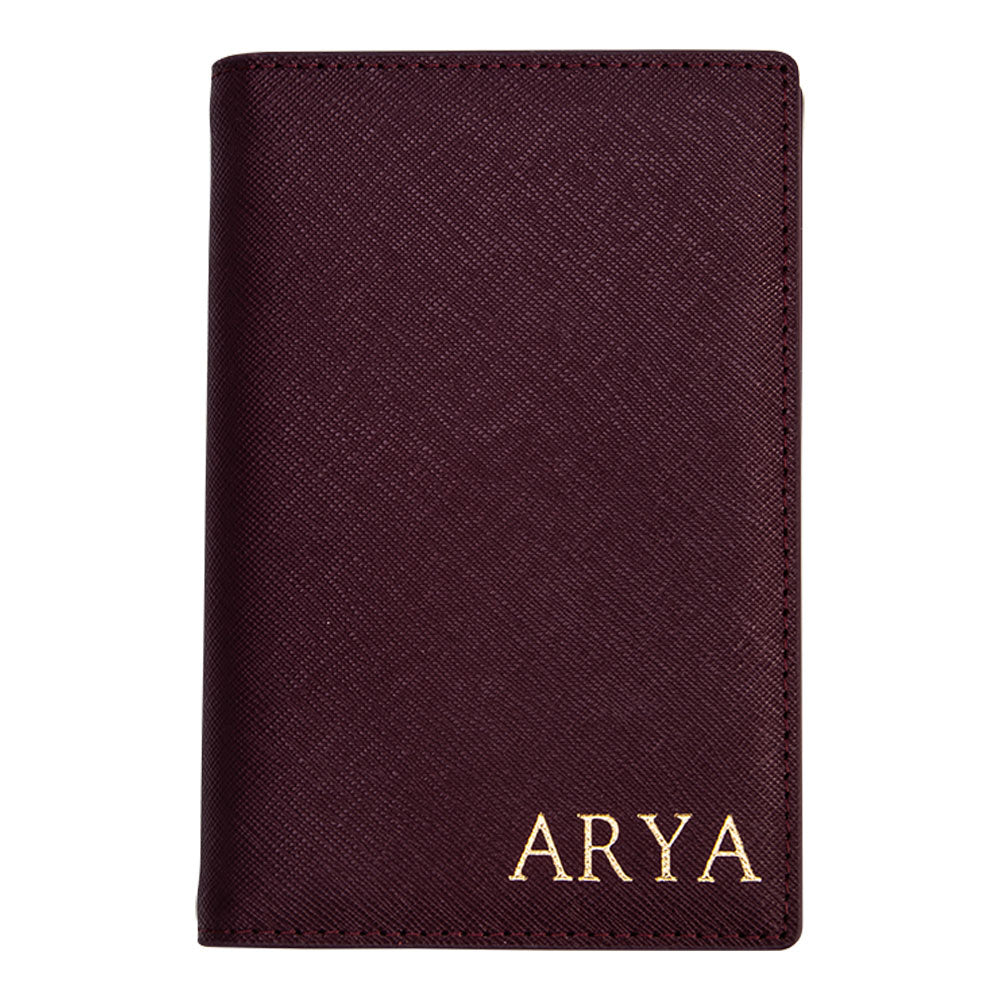 Passport Holder in Burgundy Saffiano Leather