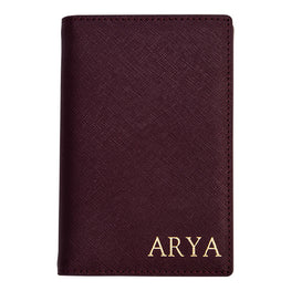 Outta Here Passport Holder in Burgundy Saffiano Leather