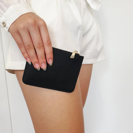 Mini Pebbled Pouch in Black