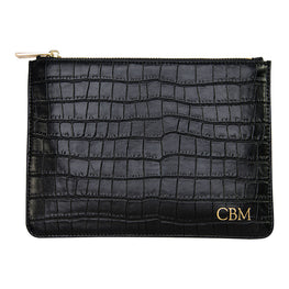 Black Mock Croc Pouch with Wrist Strap