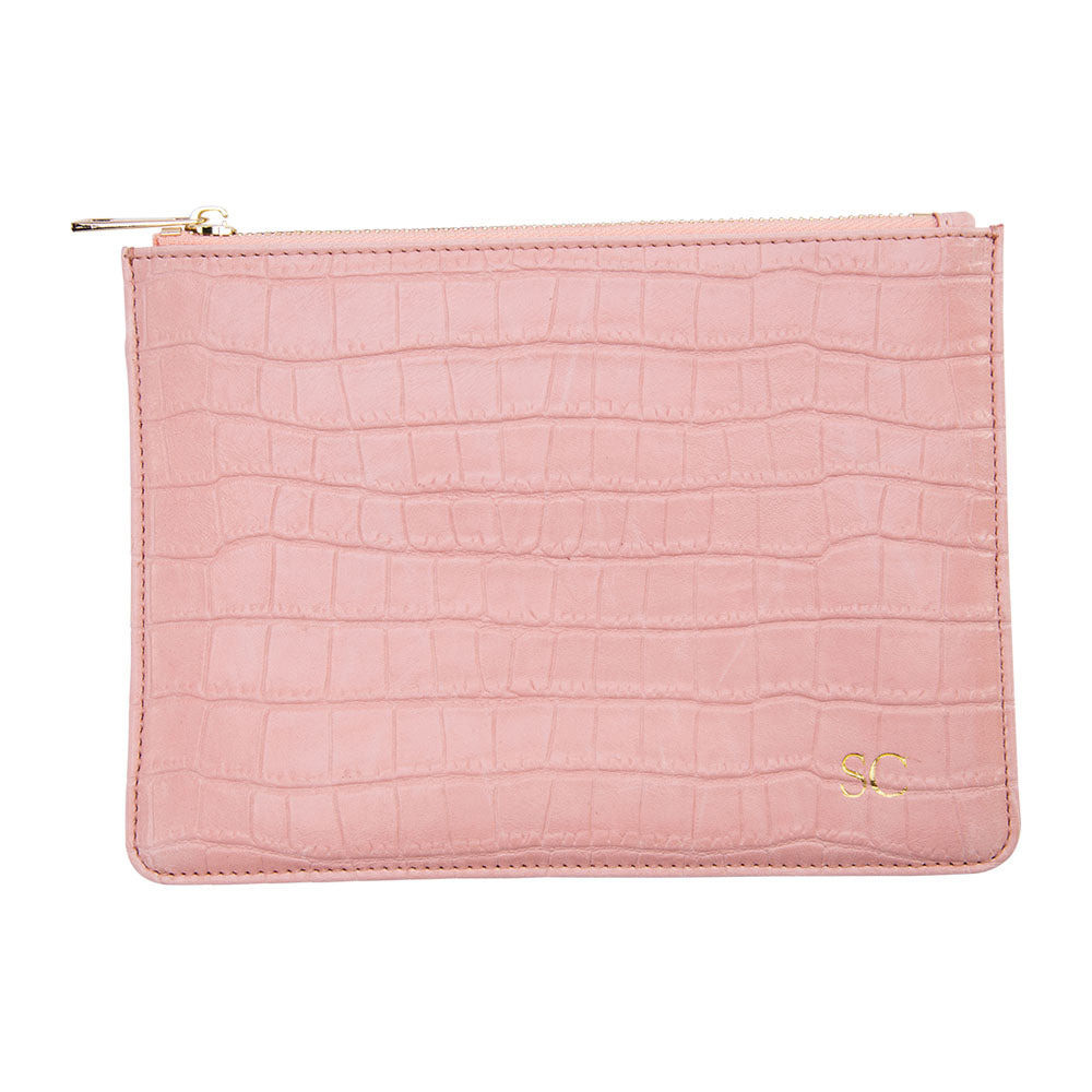 Pink Mock Croc Pouch with Wrist Strap