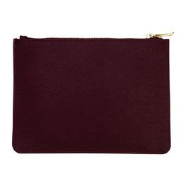 Pouch in Burgundy Saffiano Leather