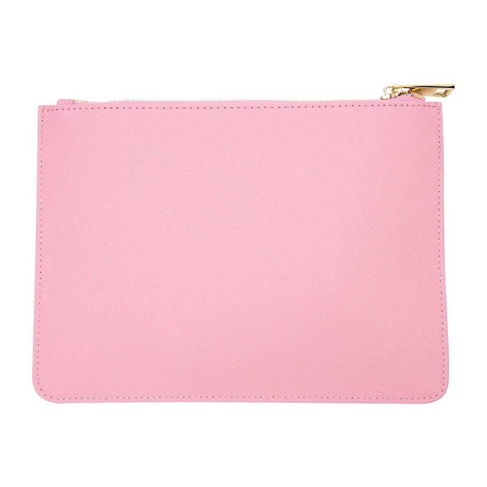 Pouch in Pink Saffiano Leather