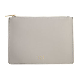 Pouch in Grey Saffiano Leather