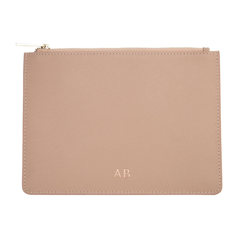 Pouch in Taupe Saffiano Leather