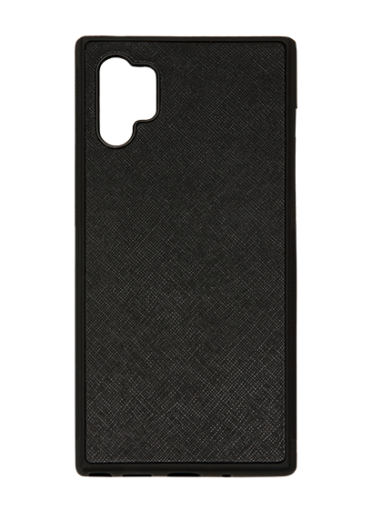 Samsung Galaxy Note 10 PLUS Phone Case in Black Saffiano Leather