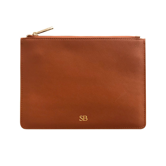 Pouch in Tan Saffiano Leather - OLIVIA&CO.