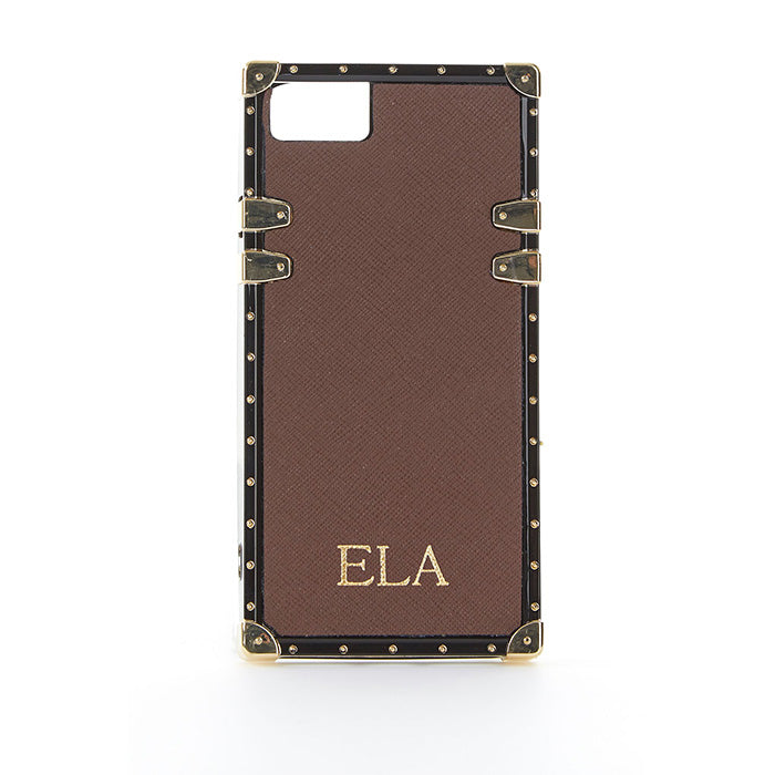 Studded Phone Case in Dark Brown iPhone 7 - OLIVIA&CO.