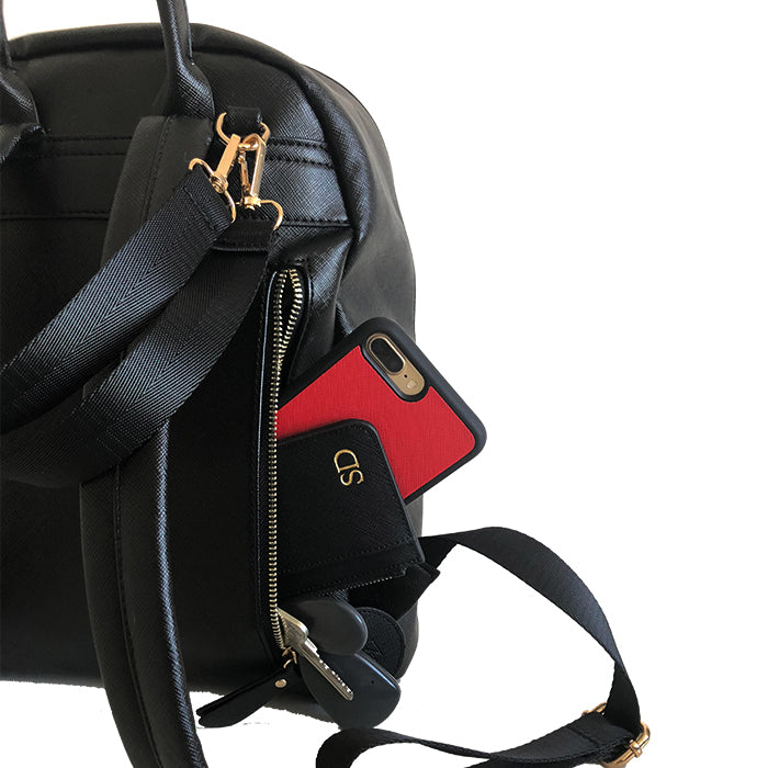 Baby Backpack Bag in Vegan Leather in Black - OLIVIA&CO.