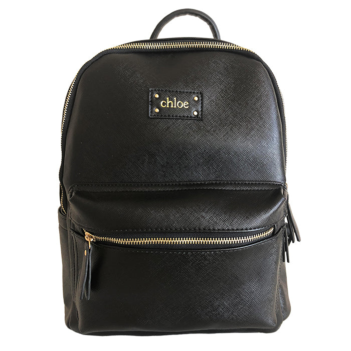Baby Bag Backpack, Baby Backpack Bag in Vegan Leather in Black - OLIVIA&CO.