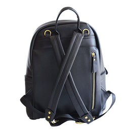 Black Baby Backpack Bag in Vegan Leather