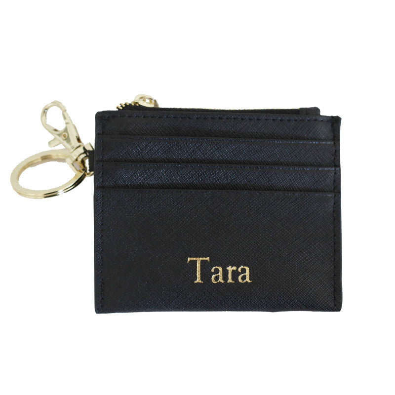 Zipped Cardholder with Keyring in Black