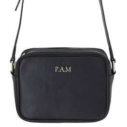 Pebbled Rectangle Crossbody Bag in Black
