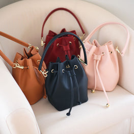Bucket Bag Mini in Vegan Leather - Black, Tan, Light Pink, Burgundy