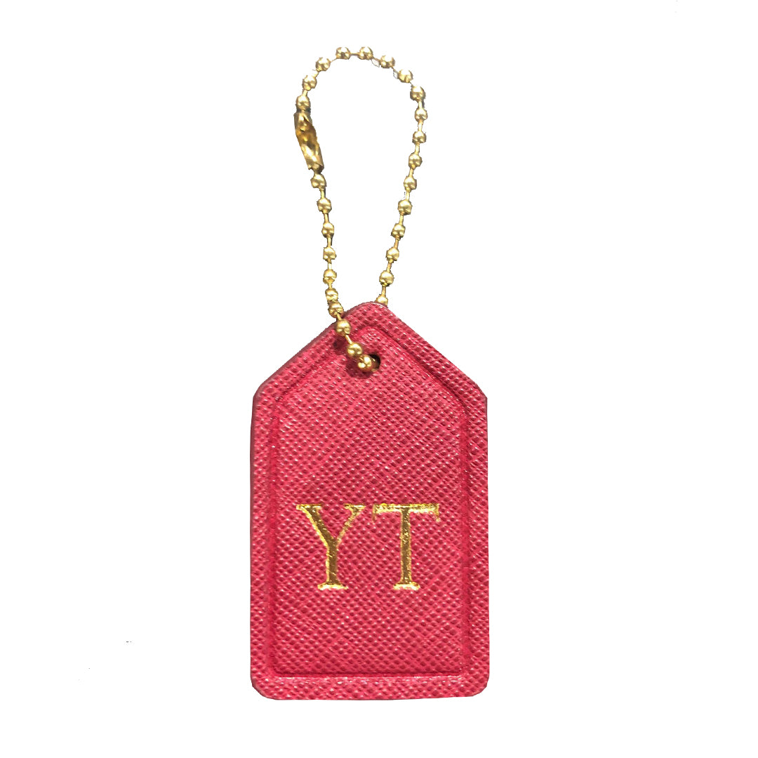 Mini Bag Tag in Burgundy Red
