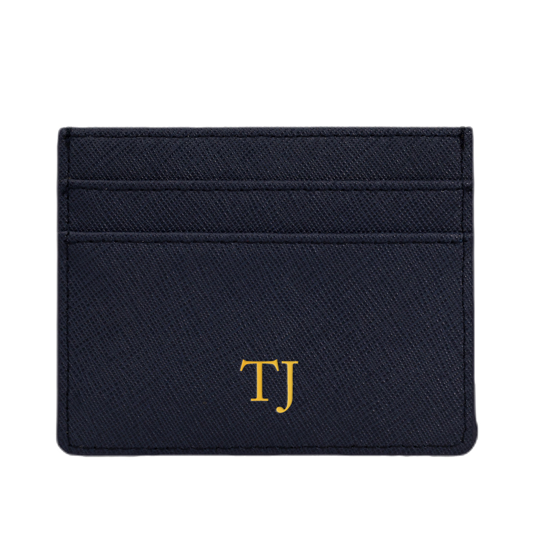 Cardholder in Navy Saffiano Leather