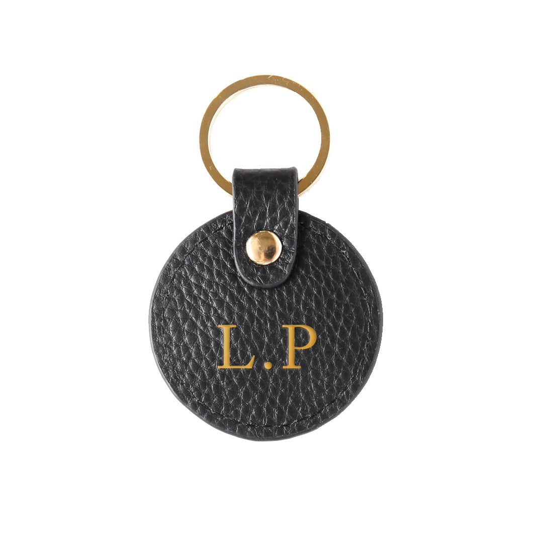 Pebbled Lowkey Round Keyring in Black (Gold)