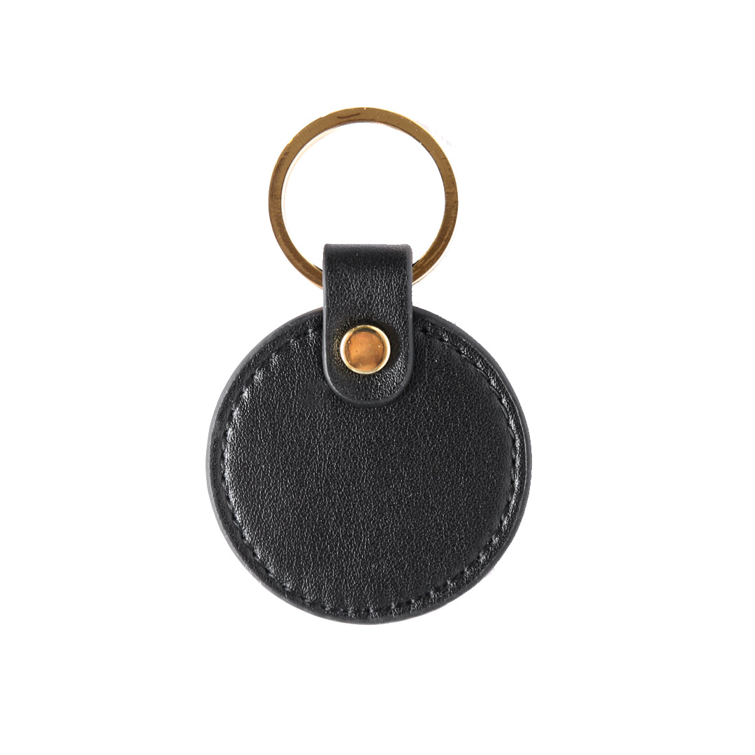 Smooth Lowkey Round Keyring in Black (Gold)