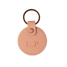 Pebbled Lowkey Round Keyring in Blush (Rose Gold)