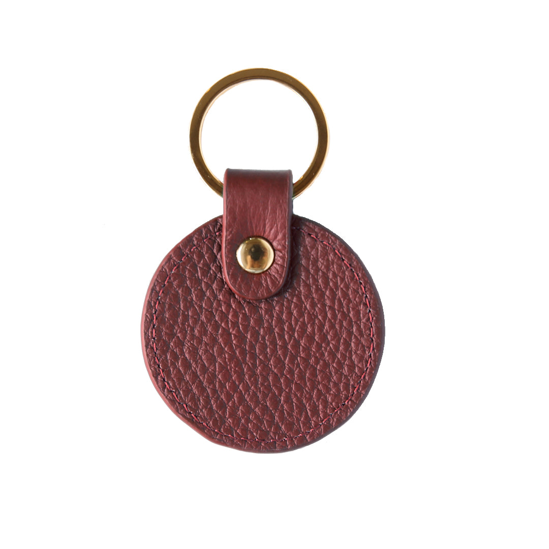 Pebbled Lowkey Round Keyring in Burgundy (Gold)