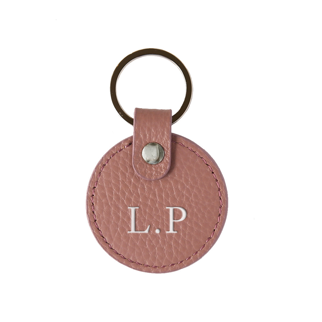 Pebbled Lowkey Round Keyring in Mauve (Silver)