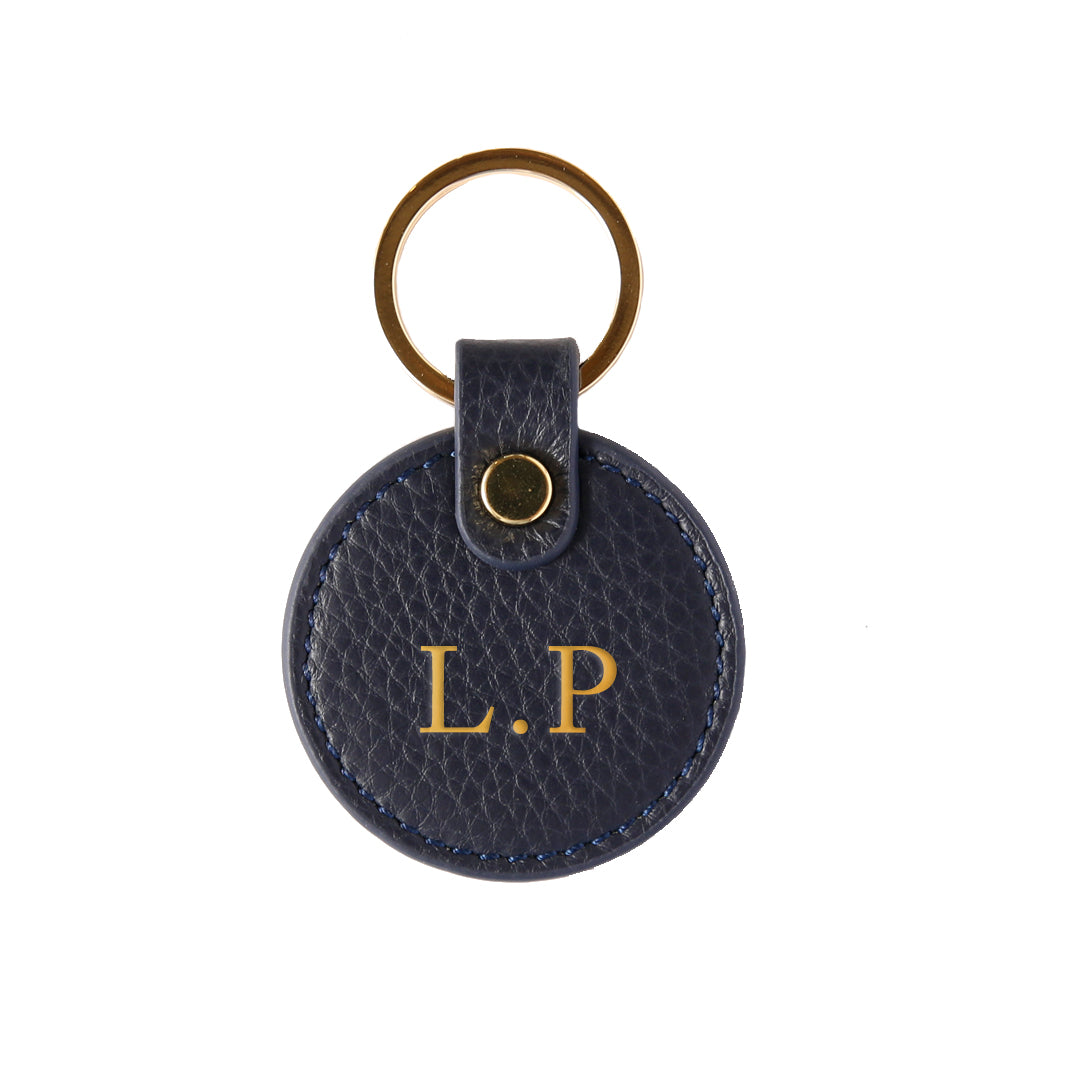 Pebbled Lowkey Round Keyring in Navy (Gold)