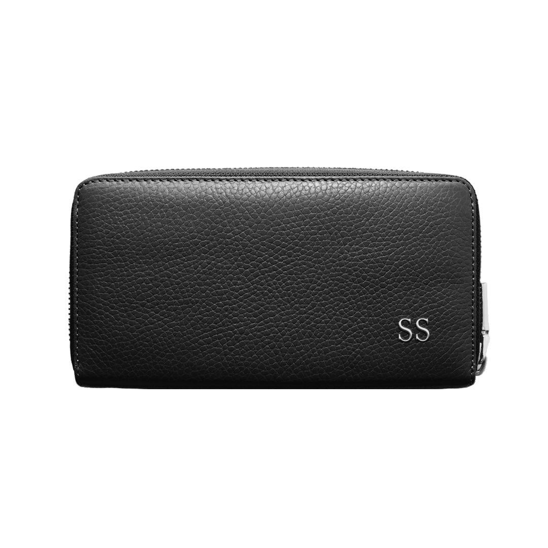 Mon Purse Pebbled Classic Wallet in Black (Silver)
