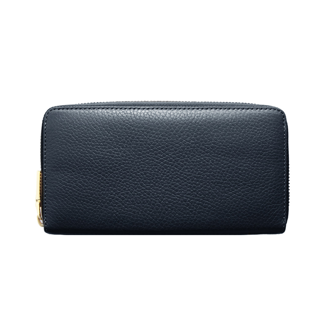 Mon Purse Pebbled Classic Wallet in Navy (Gold)