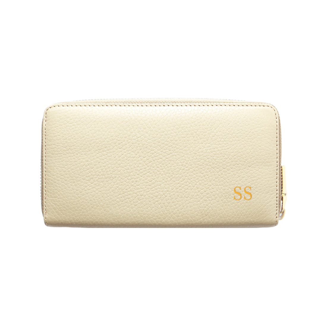 Mon Purse Pebbled Classic Wallet in Stone (Gold)