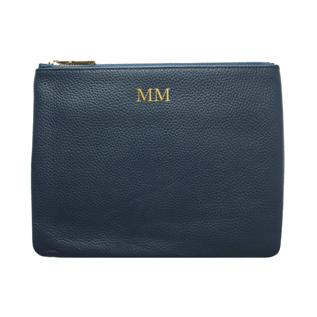 Mon Purse Pebbled Classic Pouch in Navy (Gold)