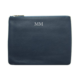 Mon Purse Pebbled Classic Pouch in Navy (Silver)
