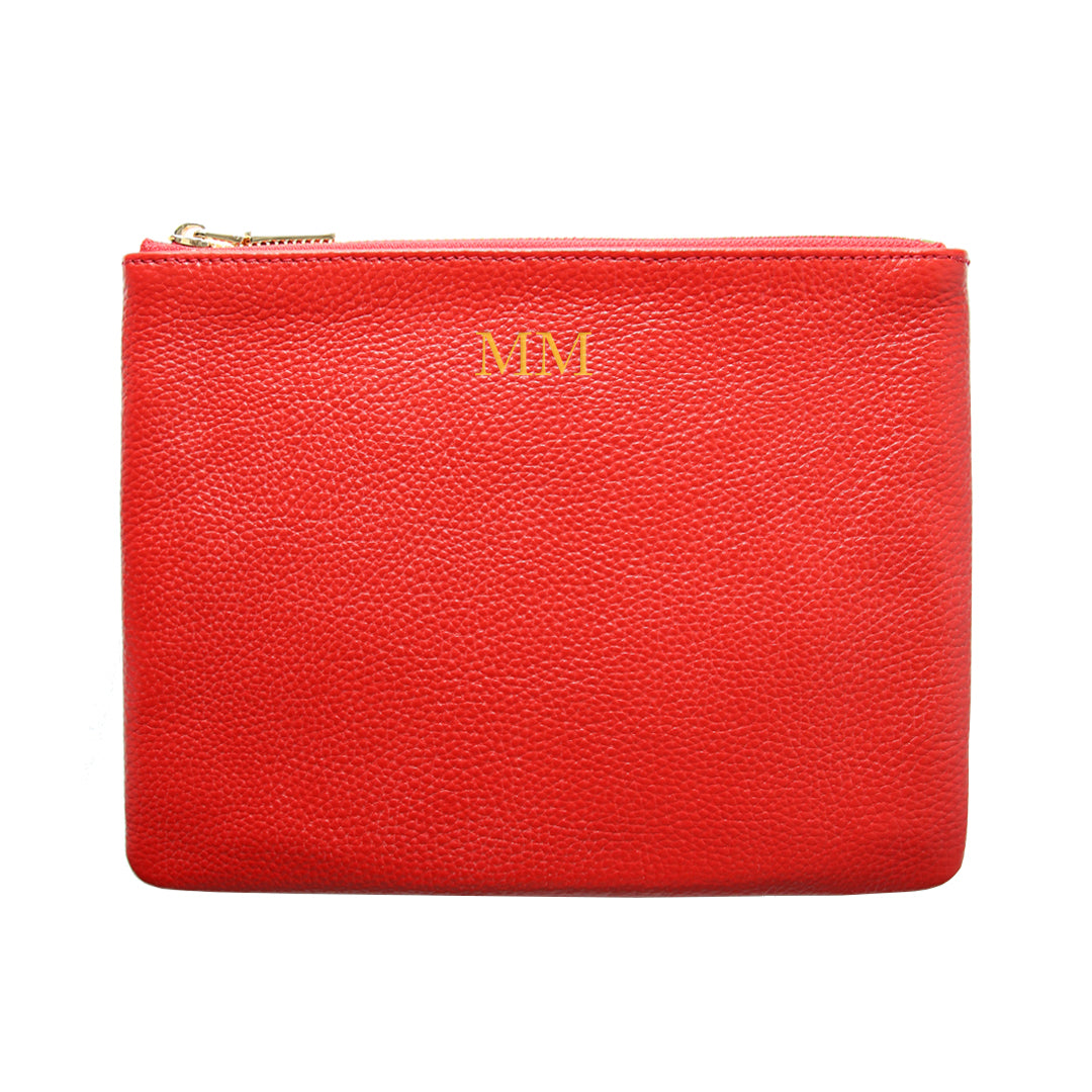 Mon Purse Pebbled Classic Pouch in Red (Gold)