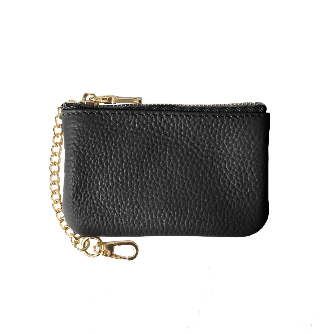 Mon Purse Pebbled Coin Purse with Chain in Black