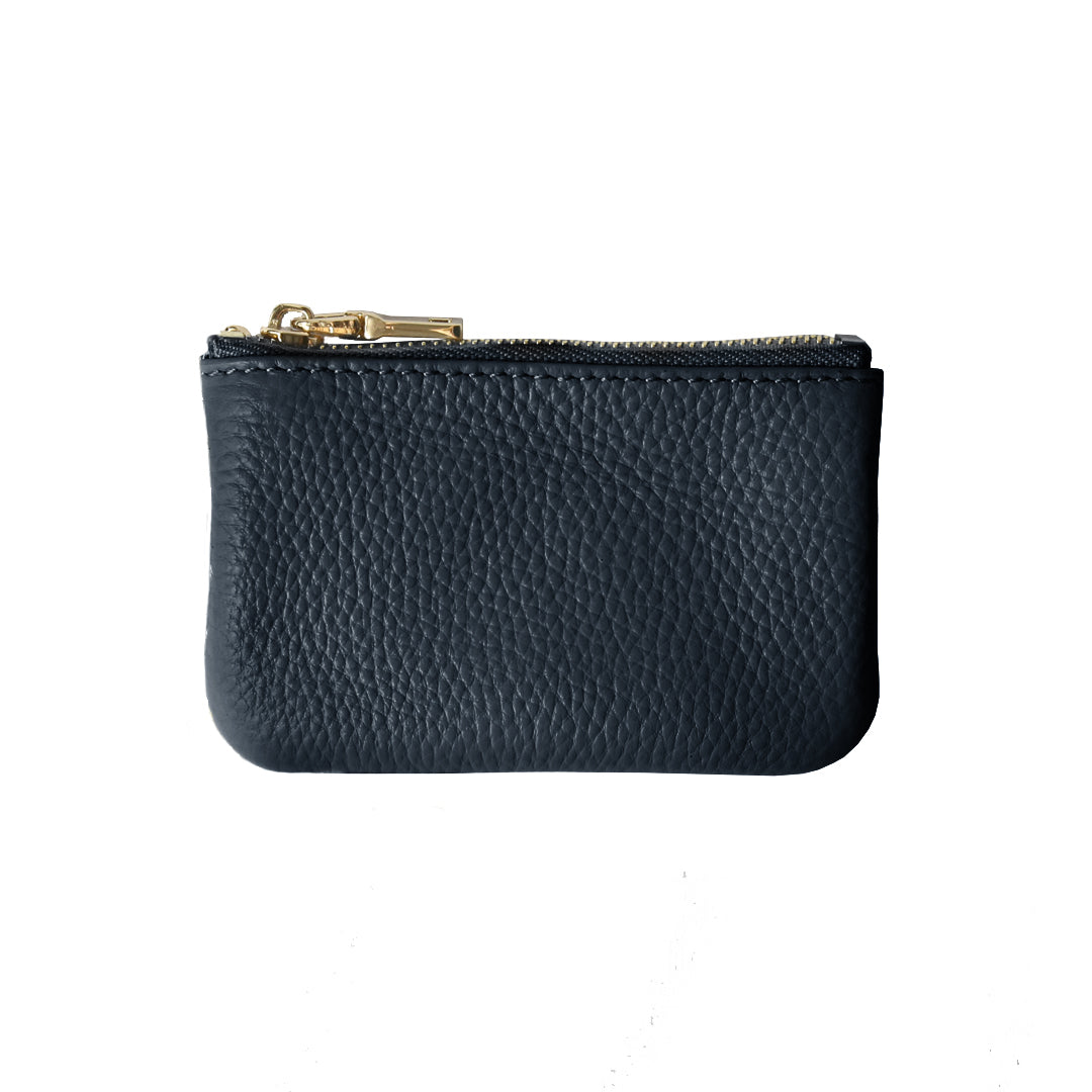 Mon Purse Pebbled Coin Purse with Chain in Navy