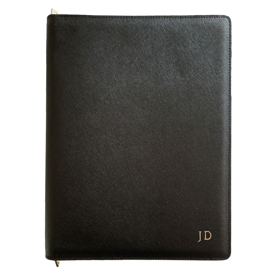 A4 Compendium in Black Saffiano Leather