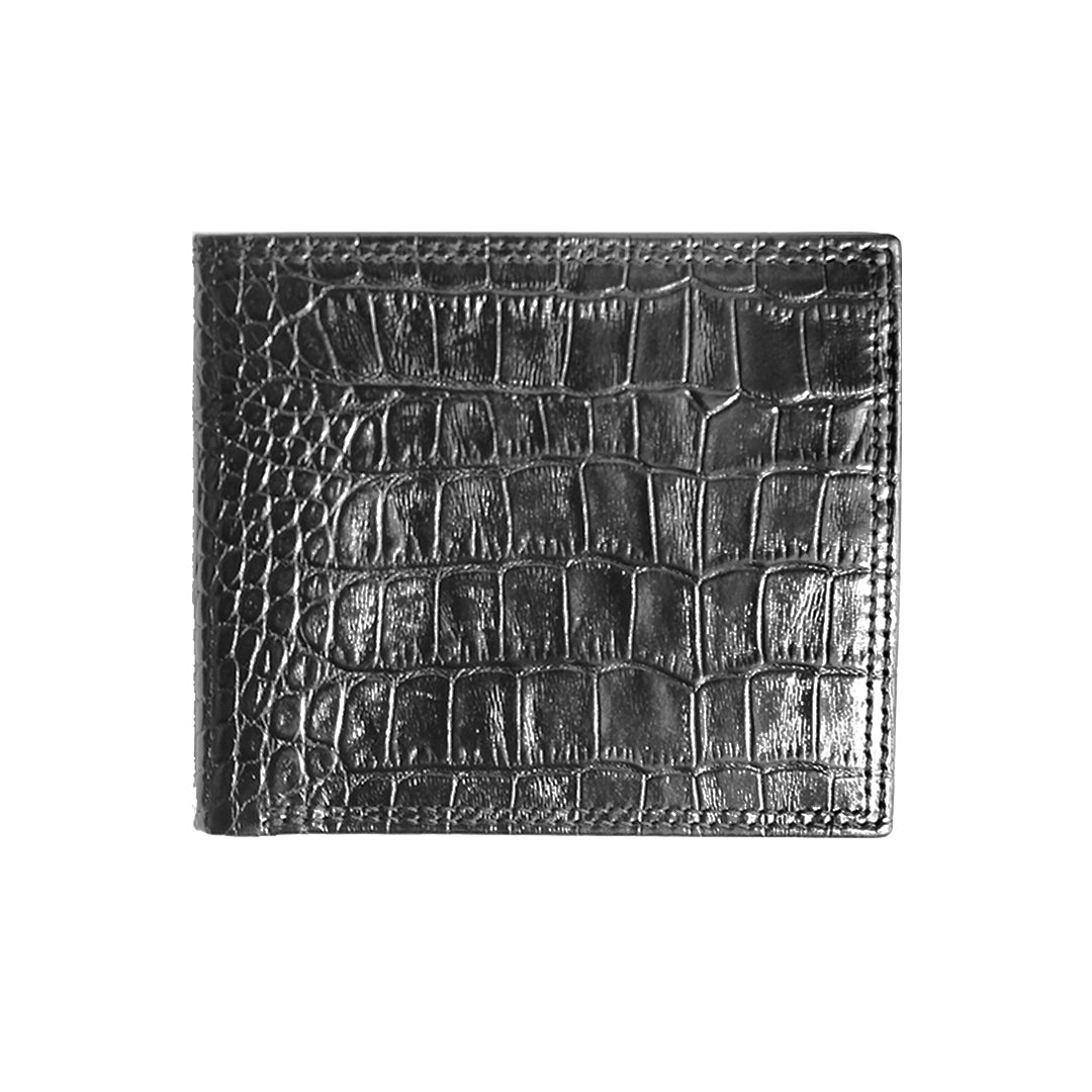 Mon Purse Mens Croc Bifold Wallet in Black