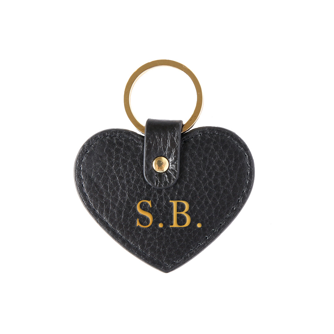 Pebbled Lowkey Heart Keyring in Black (Gold)