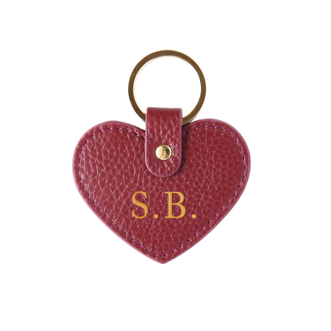 Pebbled Lowkey Heart Keyring in Burgundy (Gold)