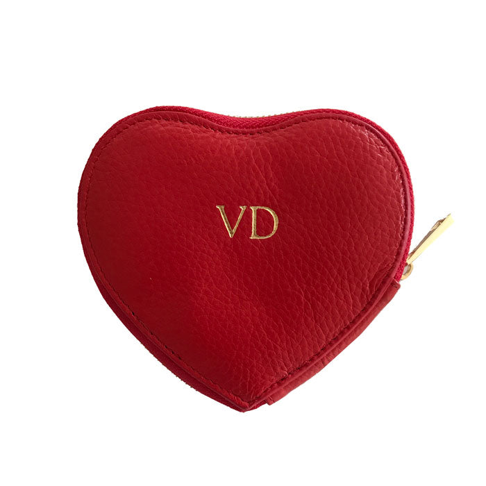 Monogrammed Leather Pouch, Heart Coin Pouch in Red Pebbled Leather - OLIVIA&CO.