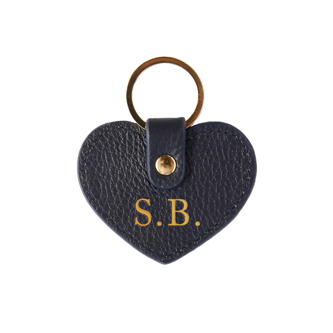 Pebbled Lowkey Heart Keyring in Navy (Gold)