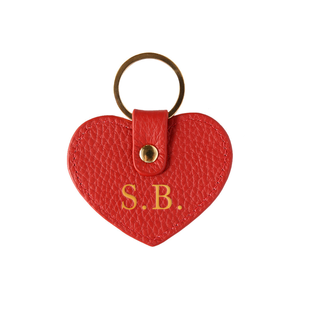 Pebbled Lowkey Heart Keyring in Red (Gold)