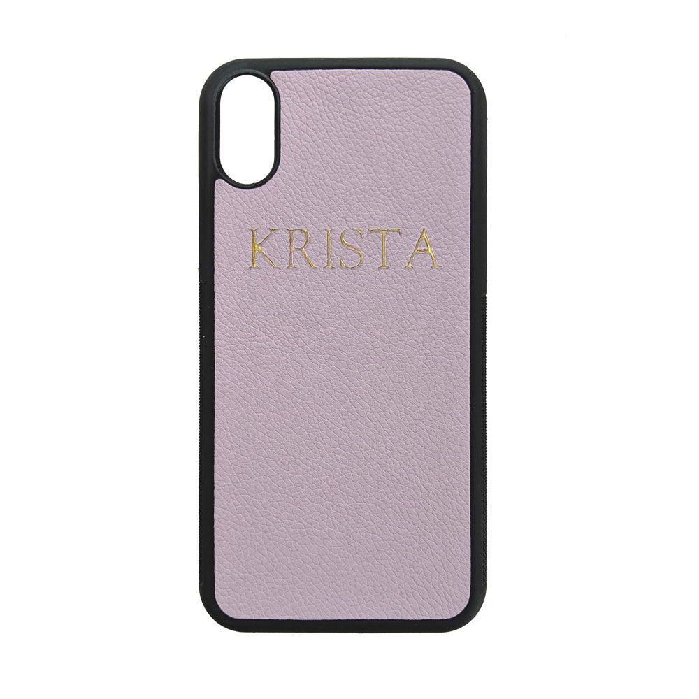iPhone X/XS Phone Case in Lilac Pebbled Leather