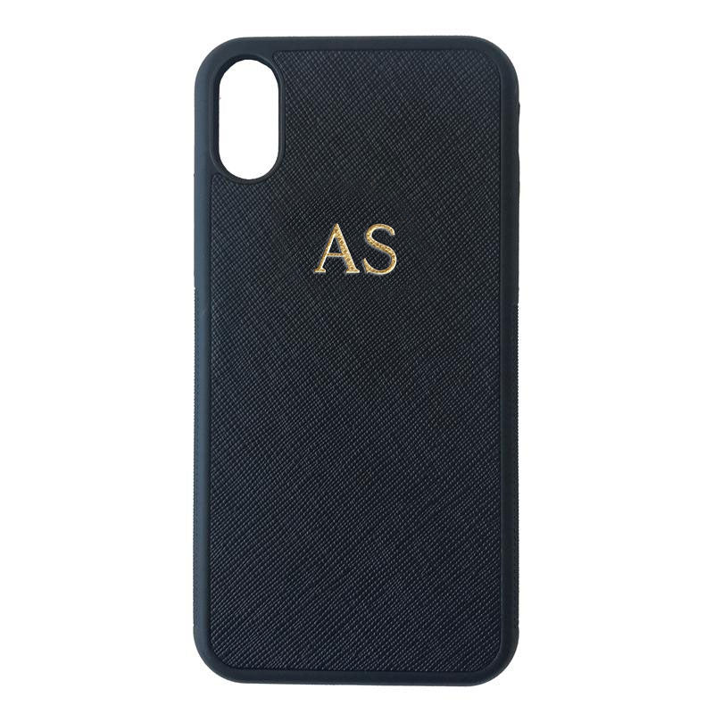 iPhone X/XS Phone Case in Black Saffiano Leather