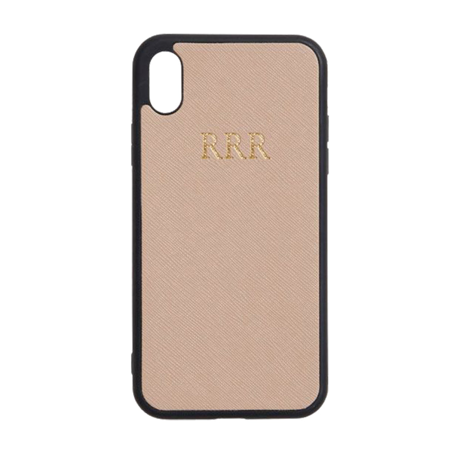 iPhone XR Case in Taupe Saffiano Leather