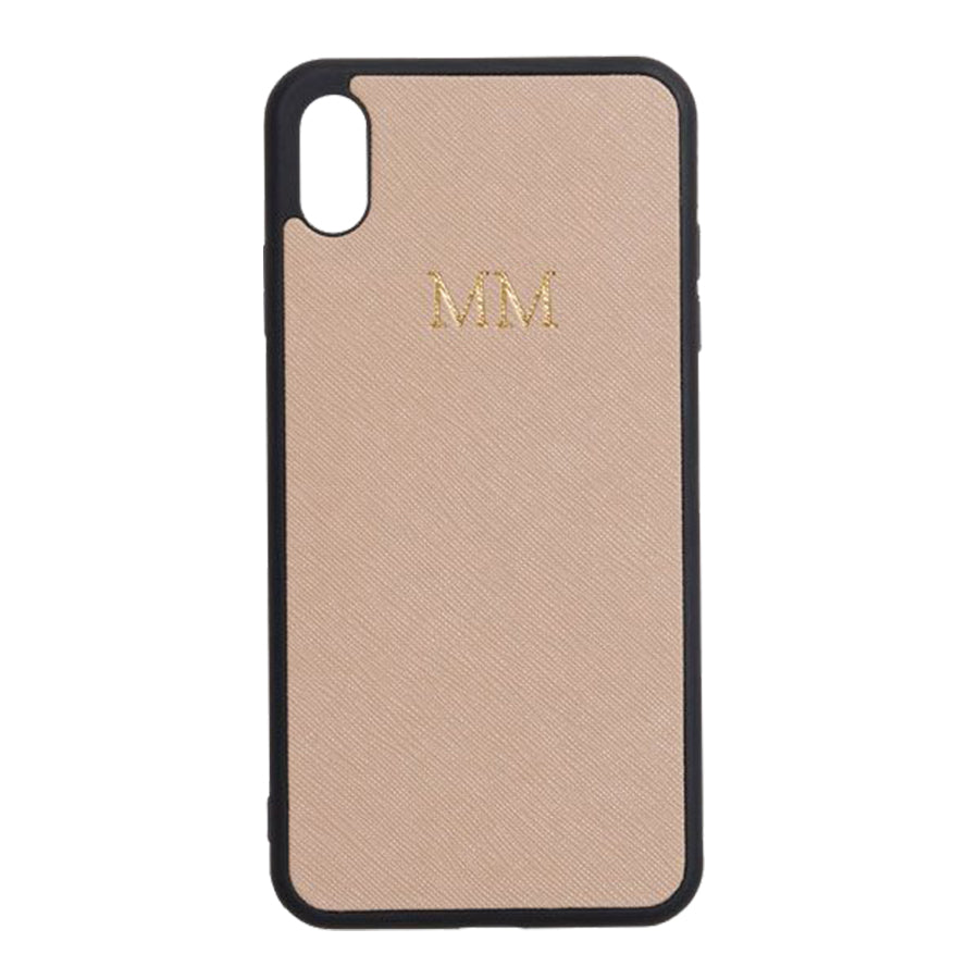 iPhone XS Max Case in Taupe Saffiano Leather