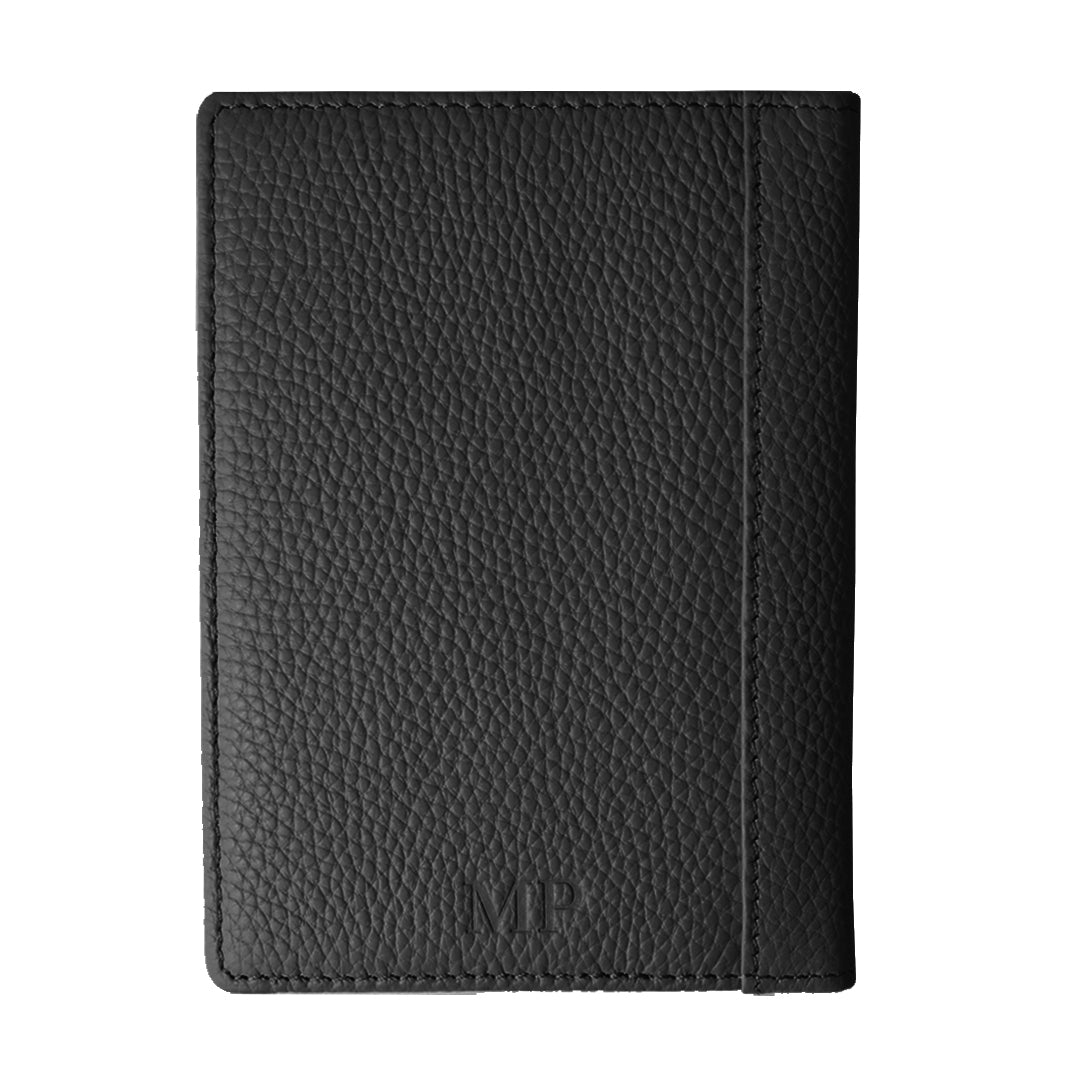 Mon Purse Pebbled Luxe Passport Holder in Black