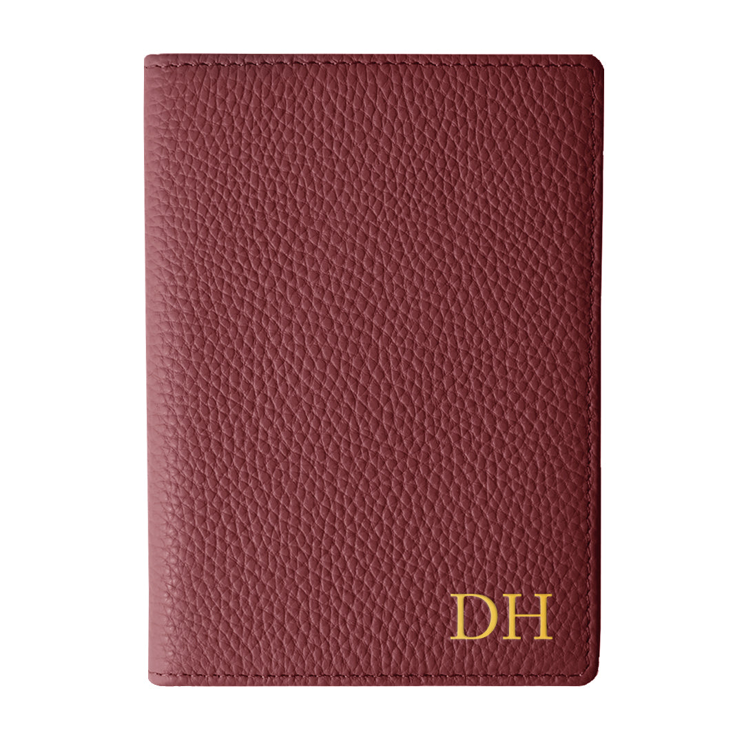 Mon Purse Pebbled Luxe Passport Holder in Burgundy