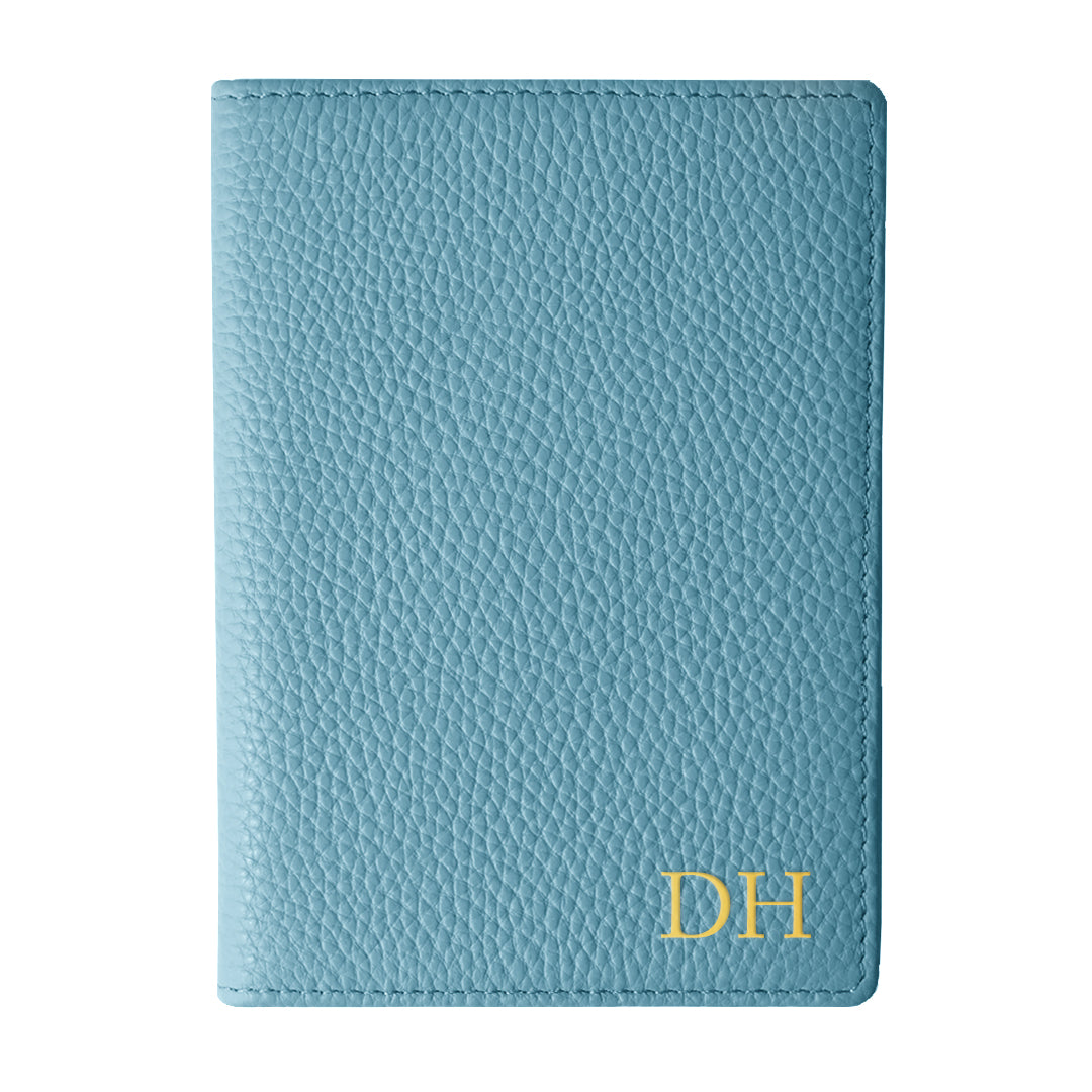 Mon Purse Pebbled Luxe Passport Holder in Denim