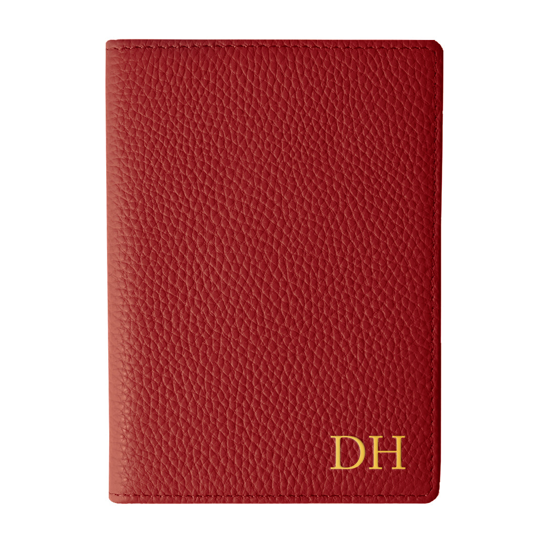 Mon Purse Pebbled Luxe Passport Holder in Red